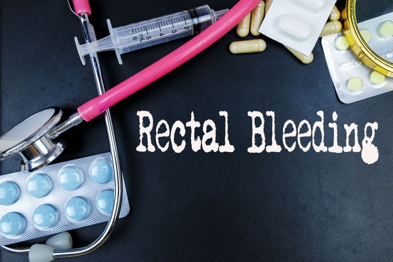 medication and a stethoscope with the text rectal bleeding