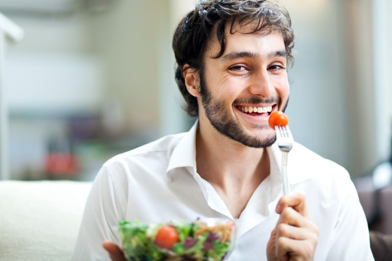 healthy man eating