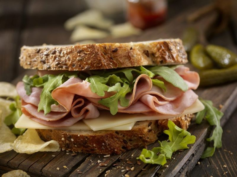 Ham, Swiss and Arugula Sandwich on Whole Grain Artisan Bread
