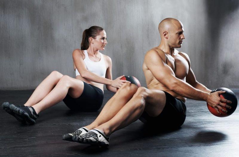 medicine ball exercising