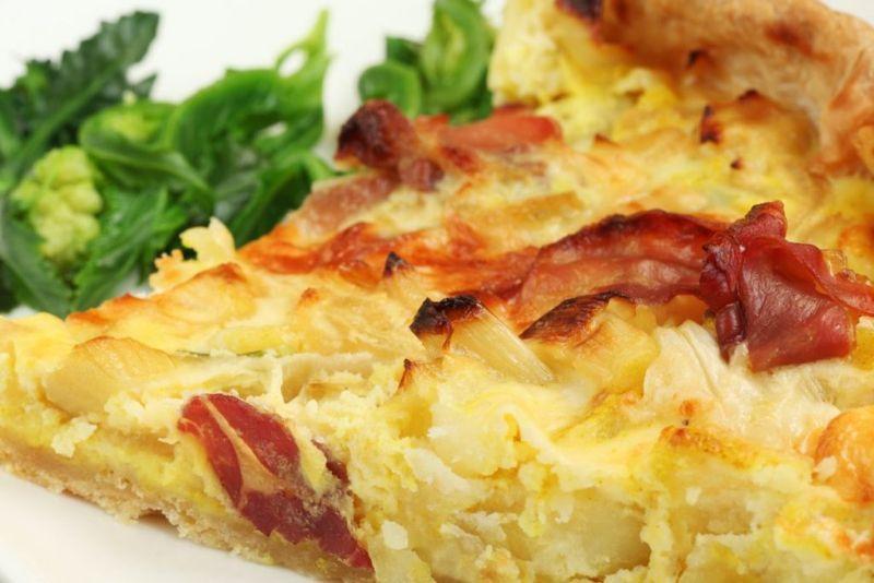 ham garlic onion broccoli quiche
