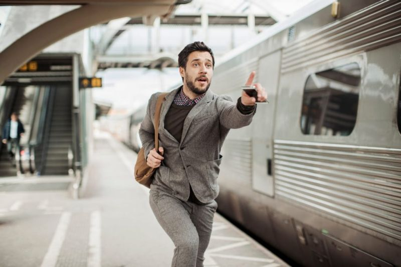 man missing his train