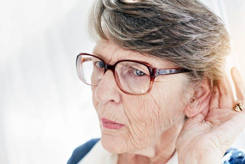 woman trying hear