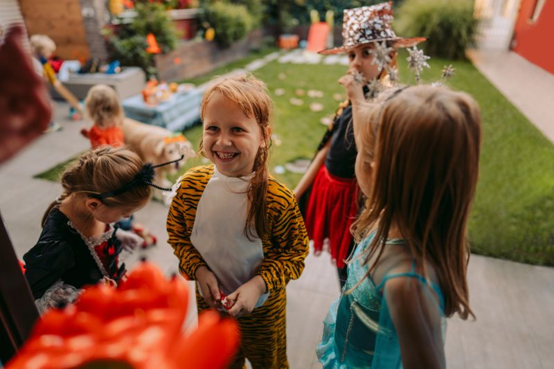 Group of kids trick or treating