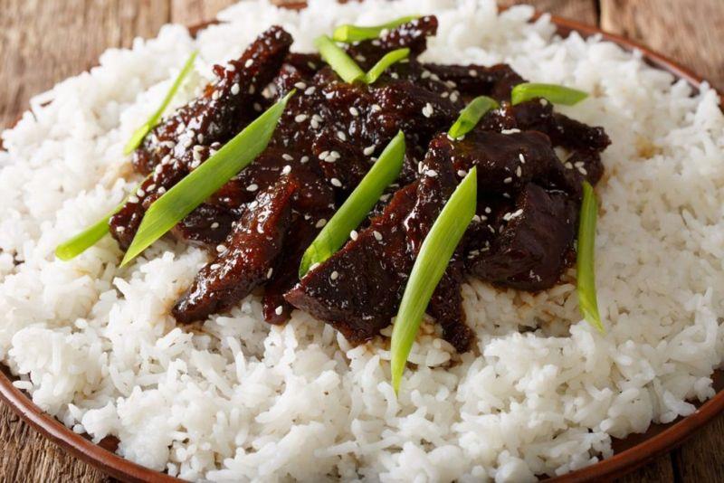 mongolian beef garnish scallion