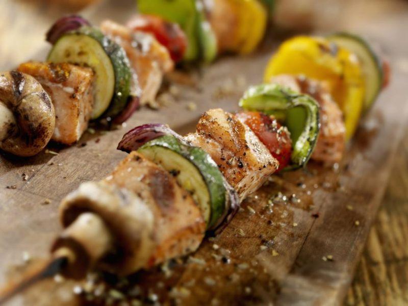 grilled salmon vegetable kabobs