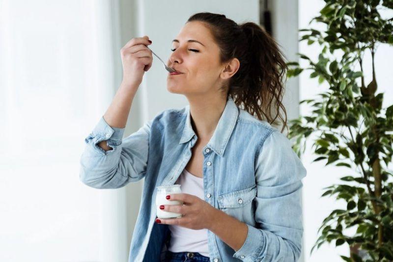 Enjoying yogurt
