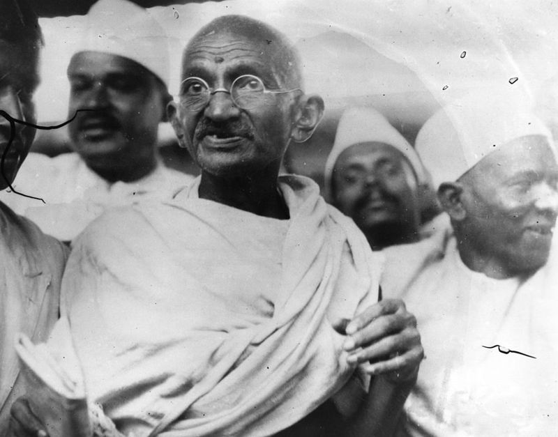 Mahatma Gandhi, Indian nationalist and spiritual leader, leading the Salt March in protest against the government monopoly on salt production.