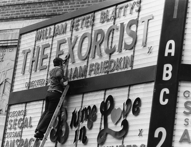 The ABC cinema in Shaftesbury Avenue advertising the opening of 'The Exorcist' directed by William Friedkin.
