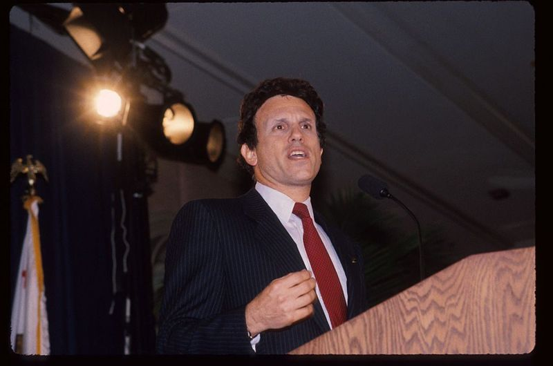 """Michael Milken speaks at the """"California Educator Awards Luncheon"""" October 5, 1988 in Los Angeles, CA. Milken was the target of a ninety-eight count criminal indictment and a civil case filed by the Securities and Exchange Commission (SEC) for allegedly violating federal securities and racketeering laws"""