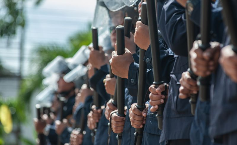Riot police training center court