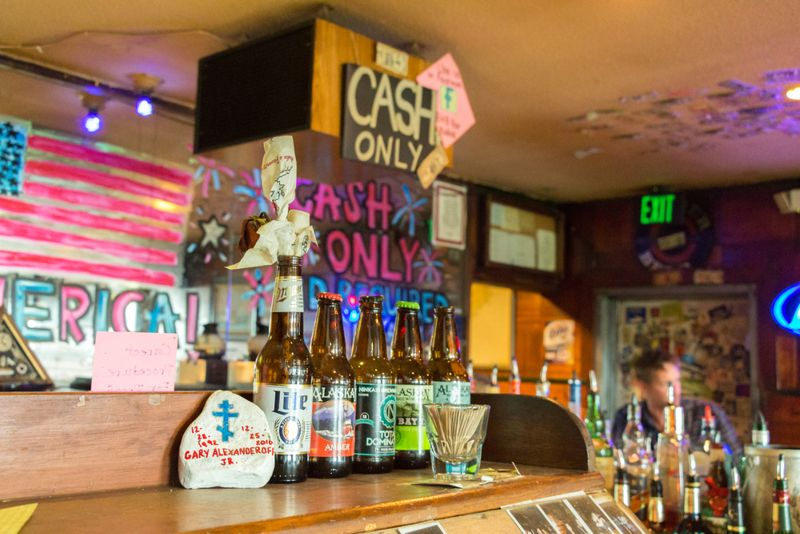 Beer's bottles inside The B & B bar placed on the 326 Shelikof st in Kodiak, Alaska