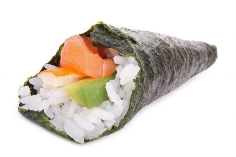 Temaki sushi roll food Japanese home