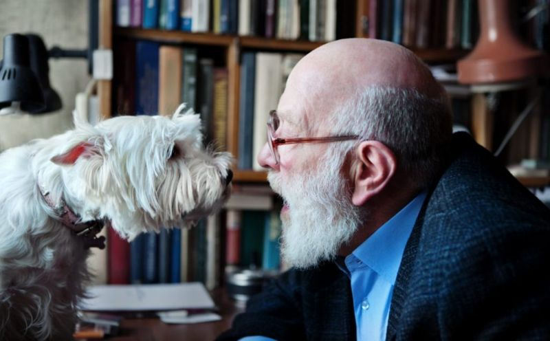 Man talking speaking to dog