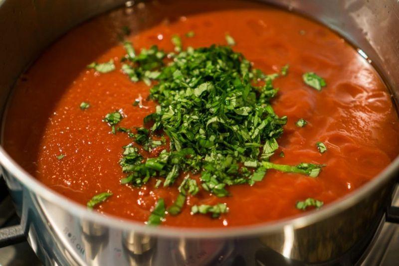 Making Pasta Sauce for Lasagna