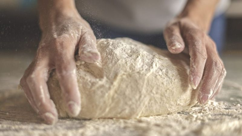 Kneading Dough to Make Bread
