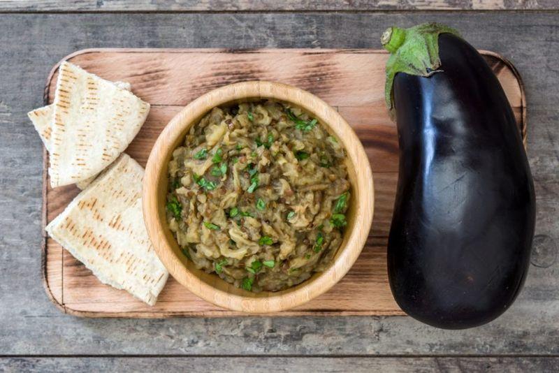 Hummus and eggplant