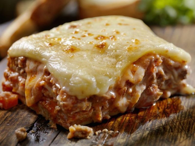 Brown Cheese on Lasagna Top