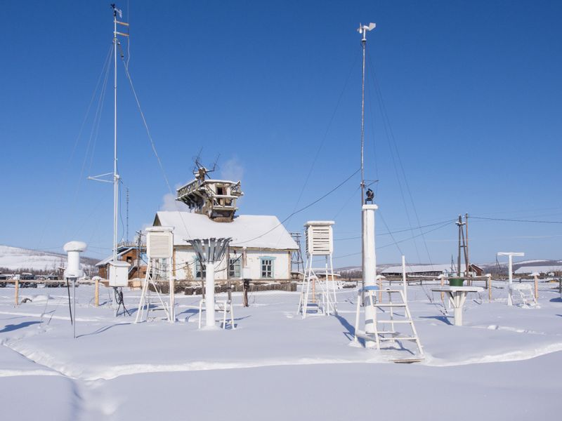 Weather station in Verkhoyansk, Yakutia, Russia. City Verkhoyansk holds the Guinness World Record for the greatest temperature range on Earth, from -67.8C in winter to 37.3C in summe