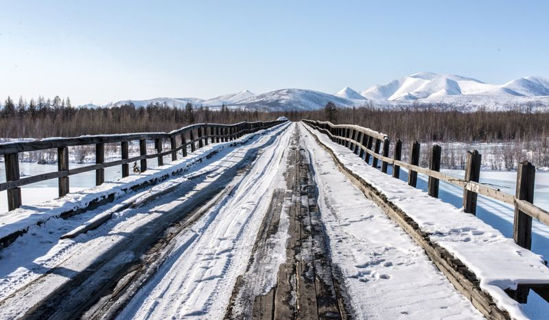 Old wooden bridge in Oymyakon