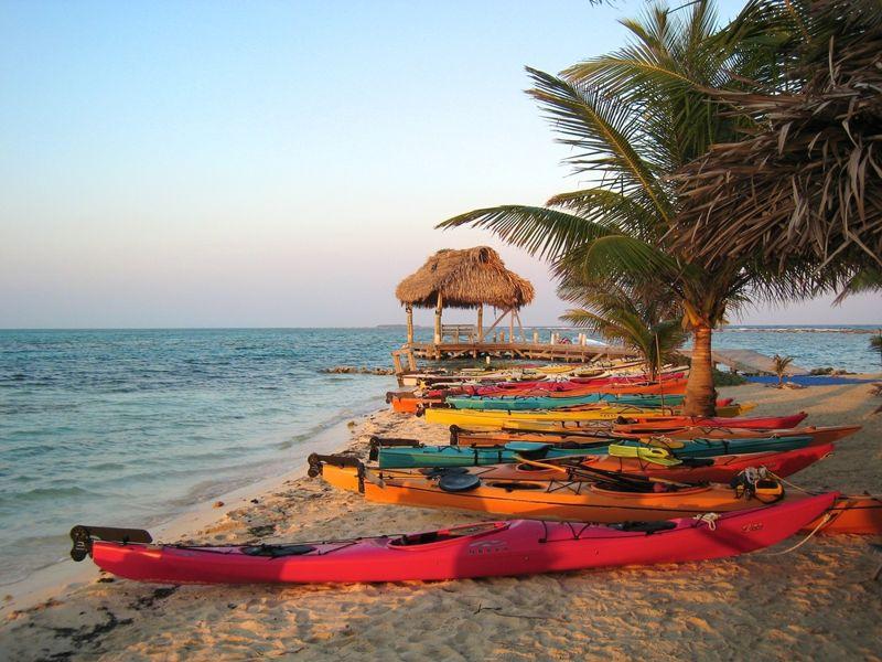 Sunset Kayak in Belize Beach