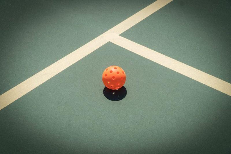 pickleball, paddles, ball, court