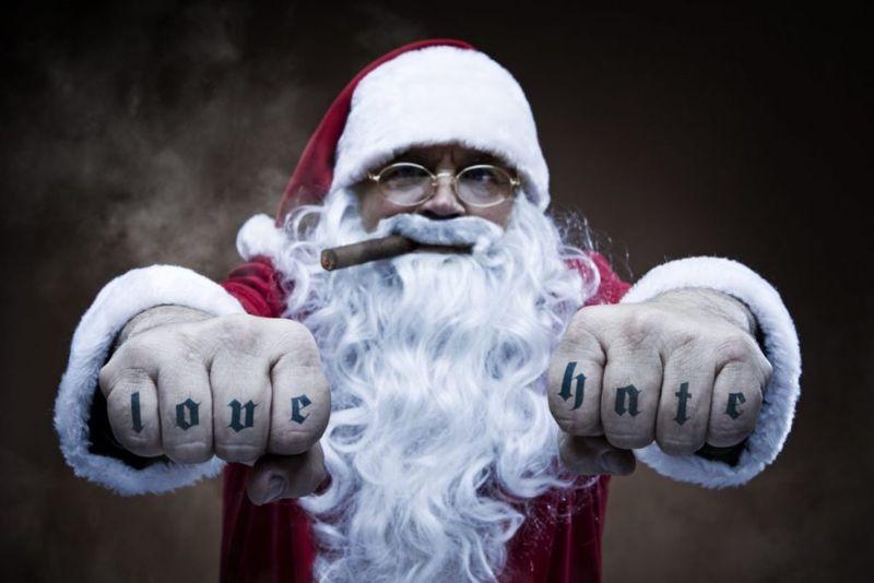 santa, love hate tattoo, word tattoo, hand tattoo