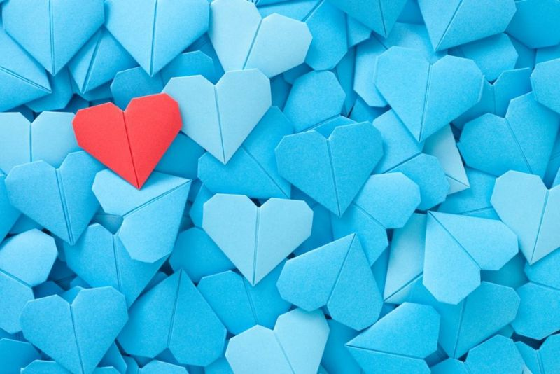 Red paper heart, blue hearts