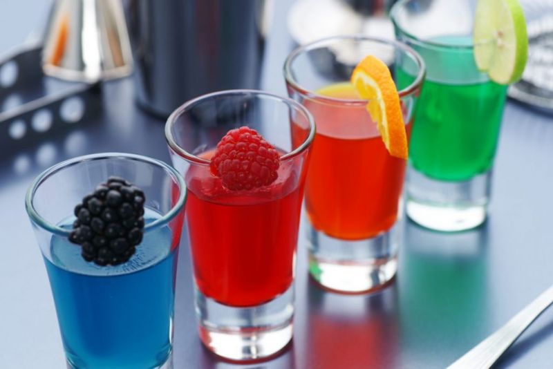 Jell-O shots fruit garnish