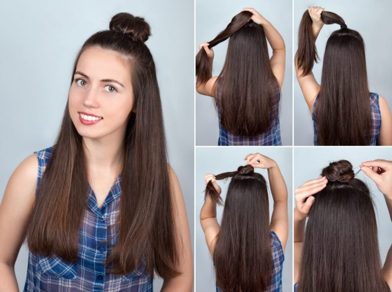 long hair hun bun