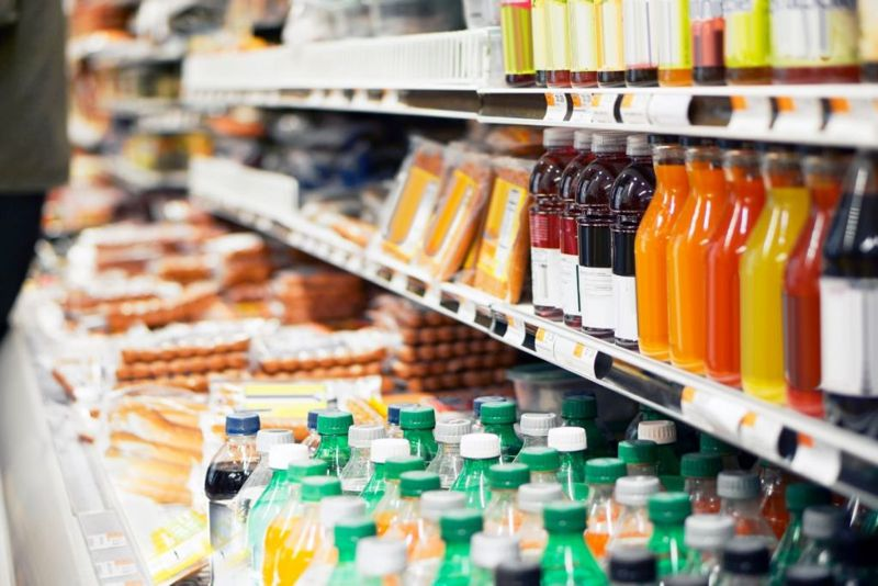 Refrigerated foods in store.