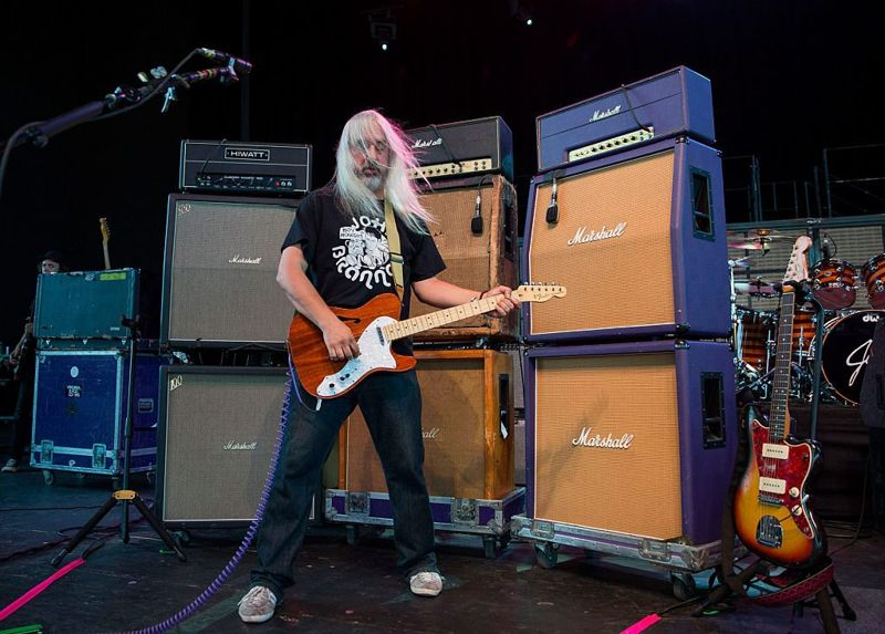 STERLING HEIGHTS, MI - JULY 22: J Mascis of Dinosaur Jr. performs at Freedom Hill Amphitheater on July 22, 2016 in Sterling Heights, Michigan.