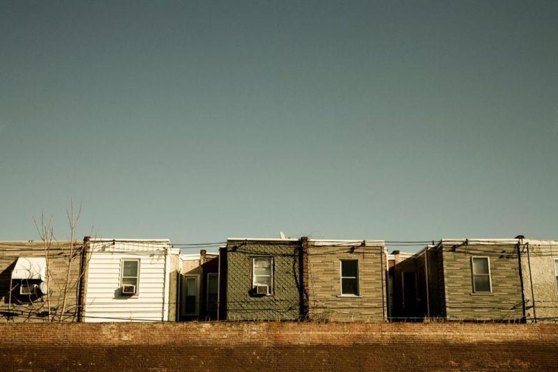 The top of row homes in Philadelphia.