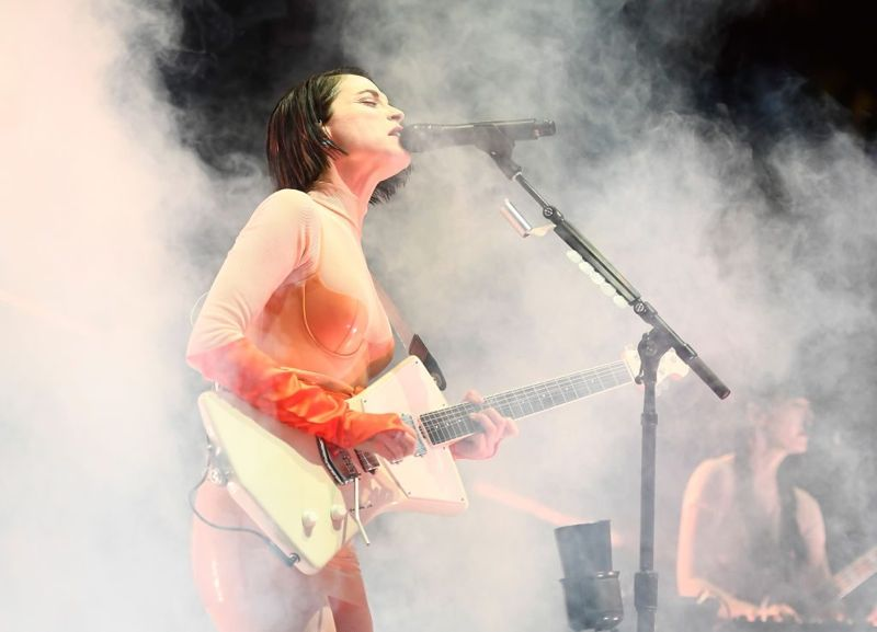INDIO, CA - APRIL 13: Recording Artist Annie Clark of St. Vincent during the 2018 Coachella Valley Music And Arts Festival at the Empire Polo Field on April 13, 2018 in Indio, California.