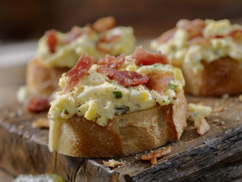 egg salad toast ham