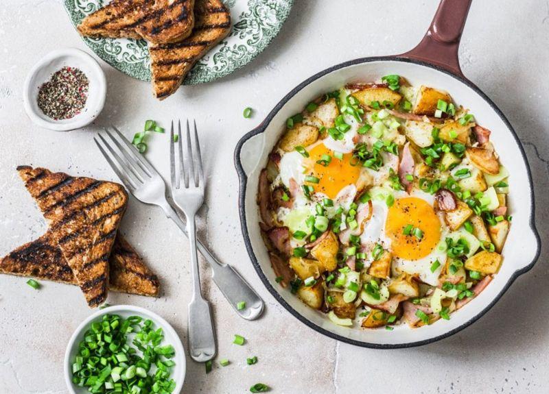 potatoes ham fried egg