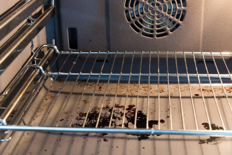 dirty oven kitchen mess
