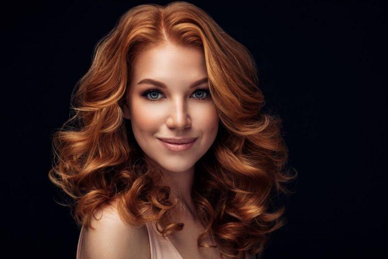 farrah flipped feathered medium redhead
