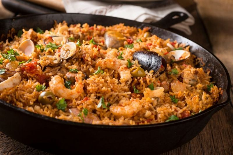 Spanish Seafood and Rice Dish in Skillet