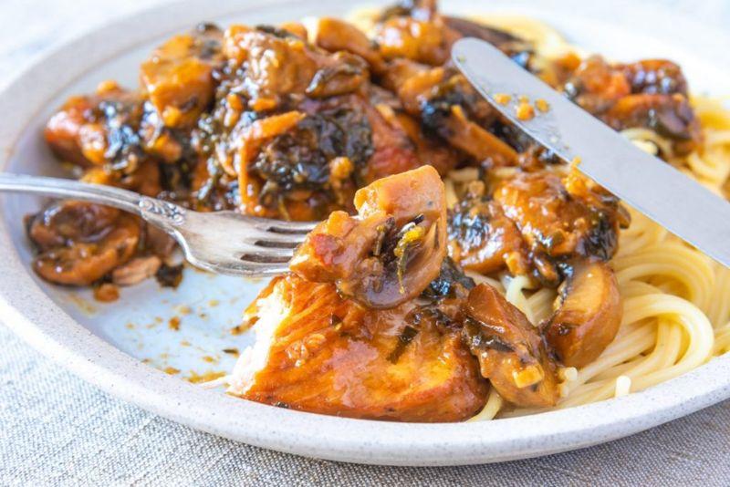 Chicken Marsala over spaghetti