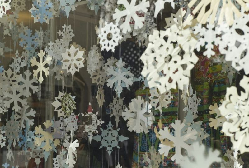 paper snowflake blizzard window