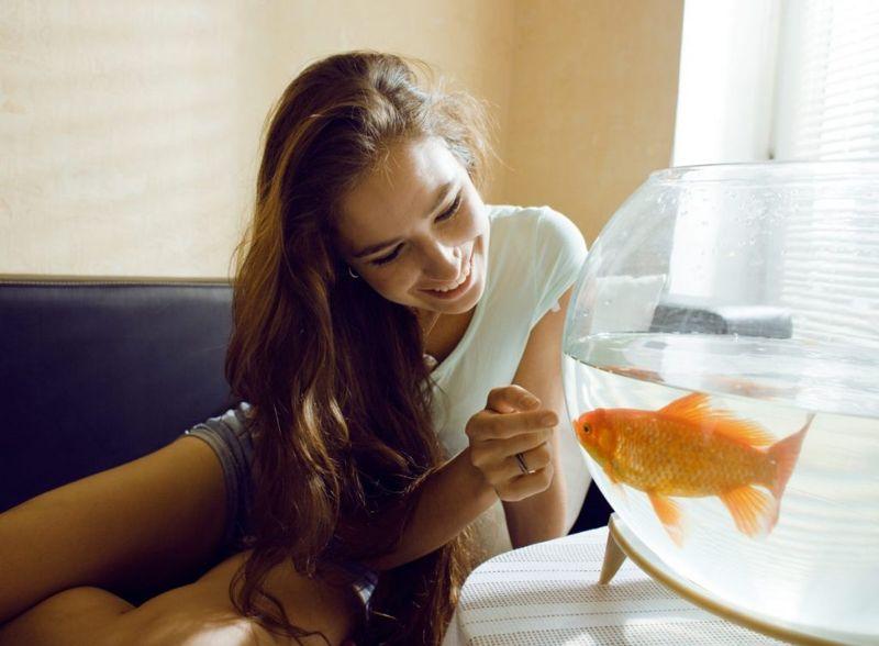 teen girl goldfish