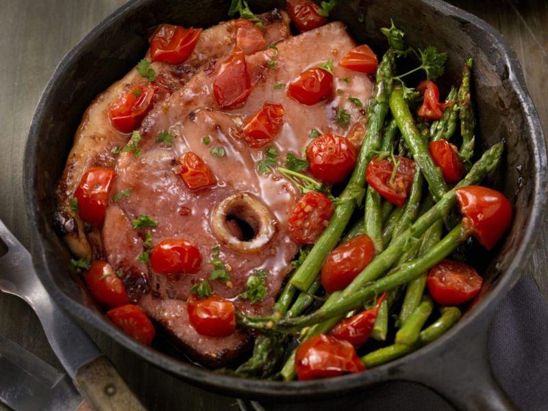 glazed ham asparagus tomato