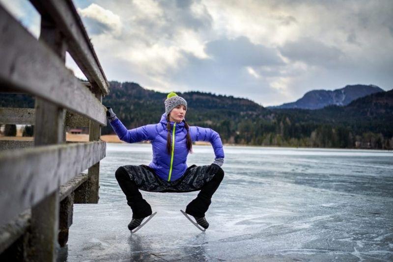 warm-up stretching ice skating
