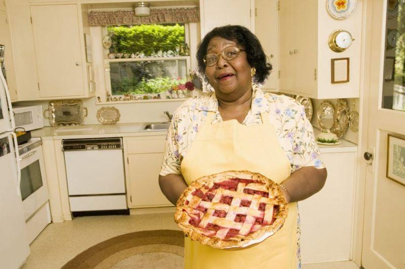 Proud baker with pie
