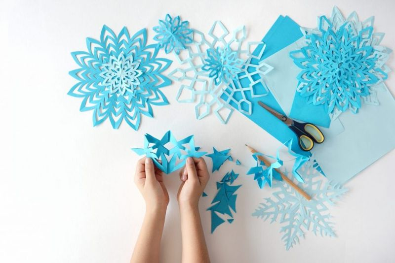 blue paper snowflakes