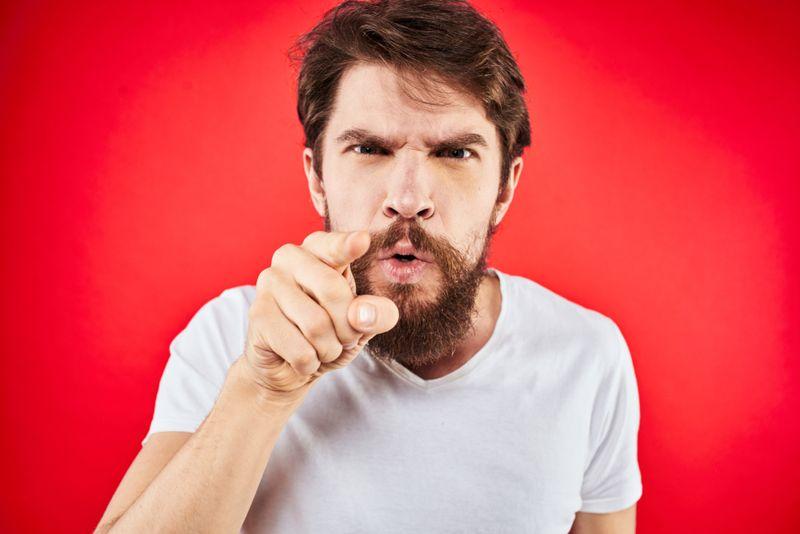 Angry man yelling at you