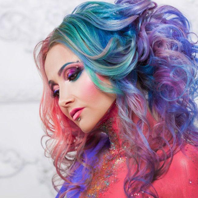 Woman with rainbow hair
