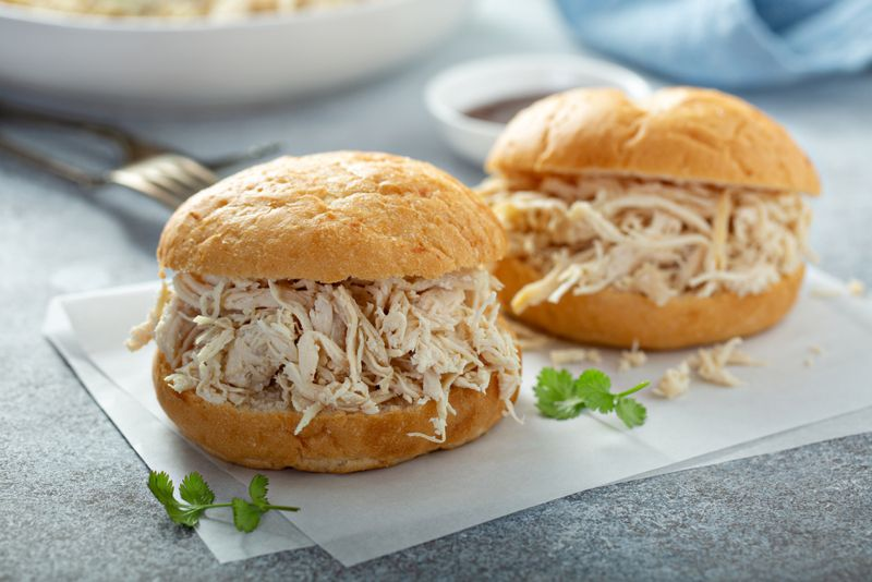 Sandwiches with pulled chicken and bbq sauce