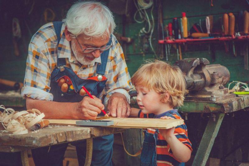 grandfather boy woodworking